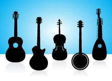 String instruments silhouettes. On color background Stock Photos