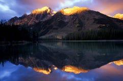 String Lake. Golden sunrise on Tetons reflected in String Lake, Grand Teton National Park Royalty Free Stock Image