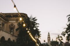 String Lights in Balboa Park stock image