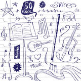 String Music Doodles. Teenage doodles of string instruments and other musical elements. Colors are easily changed in  file. Elements are on separate layers in Royalty Free Stock Photography
