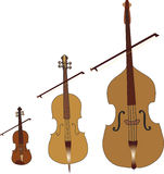 String musical instruments. Cartoon string musical instruments: violin,viola,cello Royalty Free Stock Photo