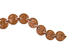 String of Pennies. Pennies attached with a copper band.  Don't lose your money Royalty Free Stock Images