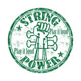 String power rubber stamp. Green grunge rubber stamp with the text string power play it loud written inside the stamp Royalty Free Stock Photography
