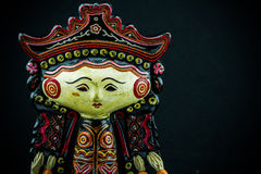 String Puppet Myanmar tradition dolls, Wooden dolls on black background. Royalty Free Stock Photo