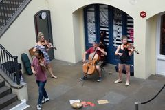 String Quartet playing  in convent garden central piazza Stock Image