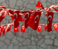 String of Turkish Flags Royalty Free Stock Photography