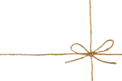 String or twine tied in a bow isolated on white Royalty Free Stock Images