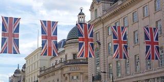 String of Union Jacks, Regent Street, London Stock Photography