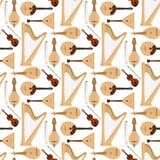 Stringed ha sognato il fondo senza cuciture del modello dell'orchestra degli strumenti musicali di arte del suono della sinfonia  illustrazione vettoriale