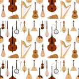 Stringed ha sognato il fondo senza cuciture del modello dell'orchestra degli strumenti musicali di arte del suono della sinfonia  illustrazione di stock