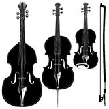 Stringed instruments. In detailed vector silhouette.  Set includes violin, viola, cello, upright bass, and bow Royalty Free Stock Images