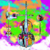 Stringed Instruments. With colorful abstract paint splashed background Royalty Free Stock Photography