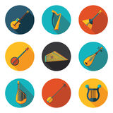 Stringed musical instruments flat icons Stock Images