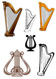 Stringed musical instruments icons set Stock Photos