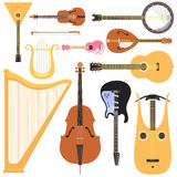 Stringed musical instruments set classical orchestra art sound tool and acoustic symphony stringed fiddle wooden. Equipment vector illustration. Vintage Royalty Free Stock Image
