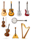 Stringed musical instruments stock vector illustration Royalty Free Stock Photos