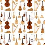 Stringed a rêvé le fond sans couture de modèle d'orchestre d'instruments de musique d'art de bruit de symphonie acoustique classi illustration stock