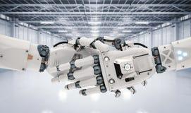 Stringere della mano del robot Fotografia Stock