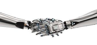 Stringere della mano del robot Fotografia Stock Libera da Diritti