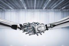 Stringere della mano del robot Fotografie Stock