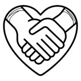 Stringere l'illustrazione dell'icona di vettore delle mani illustrazione di stock