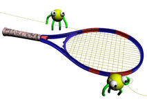 Stringers. Two yellow tennis balls string blue racket Royalty Free Stock Photography