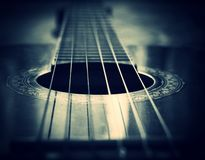 Strings. Blue Guitar strings stock photo