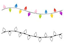 Strings of Christmas Lights. An illustration featuring your choice of simple Christmas lights in color and black and white Stock Image
