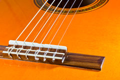 The strings of a classical guitar Royalty Free Stock Image