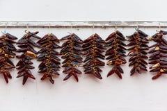 Strings of Espelette peppers drying Stock Image
