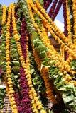 Strings of flowers, Jodhpur, Strings of flowers, Rajastan Stock Photos