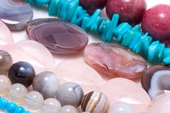 Strings of gem stones beds Royalty Free Stock Photos