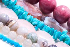 Strings of gem stones beds Stock Image