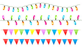 Strings of holiday lights and birthday flags white Stock Photos