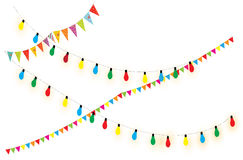 Strings of holiday lights and birthday flags white Stock Images