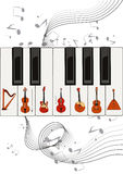 Strings on keys Royalty Free Stock Images