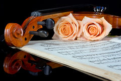 Strings of love. Sheet music of the Wedding March; with roses and violin royalty free stock photos