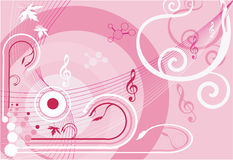 Strings and notes. Floral designs with strings and notes Stock Images