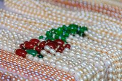 Strings of pearls at the market in Gulangyu Island in China Royalty Free Stock Photo