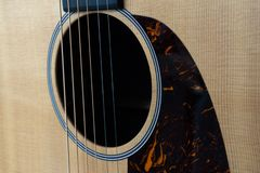 Strings and Sound Hole Of Acoustic Guitar royalty free stock photo