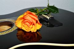 Strings and roses, symbols. A rose on the strings of a guitar, evoking melancholy and love song Royalty Free Stock Images