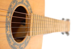 Strings and sound hole of guitar Royalty Free Stock Photo