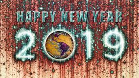 Stringy Psychedelic Happy New Year 2019 With Earth stock photo