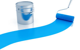 Strip of blue paint and roller Royalty Free Stock Photography
