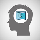 Strip countdown film silhouette head think movie Stock Image