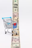 Strip of different us dollar banknotes and empty shopping trolle Royalty Free Stock Photo