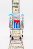 Strip of different us dollar banknotes and empty shopping trolle Royalty Free Stock Photography