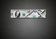 Strip from dollars on the gradient dark background Stock Photo