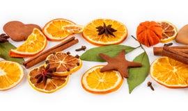 Strip of dried oranges, lemons, mandarins, star anise, cinnamon sticks and gingerbread Stock Image