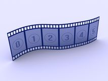 Strip film 2. A conceptual strip film with numbers - 3d render Royalty Free Stock Image